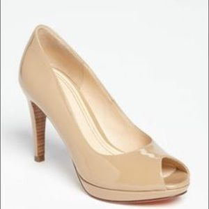 NEVER WORN Cole Haan Nude 8 Patent Peep Toe Pumps